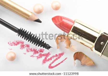 still life with cosmetics on the white background
