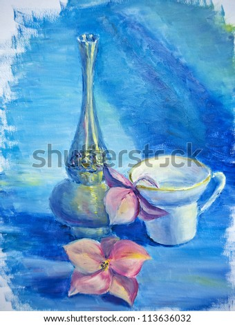 Still life with cup and flowers, oil painting on canvas - stock photo