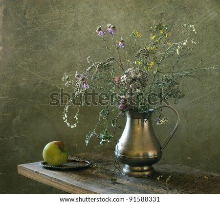 Still life with dry field flowers - stock photo