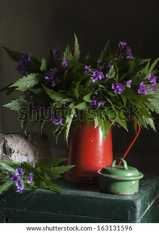 Still life with field flowers - stock photo