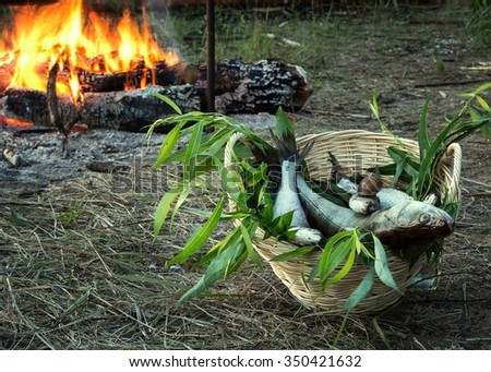 Still life with fish and bonfire