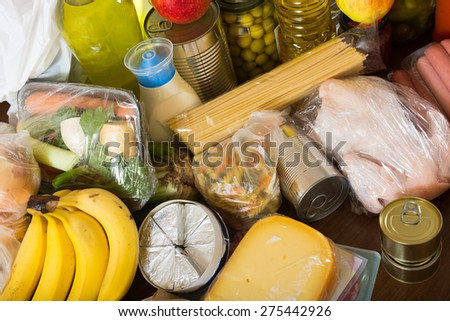 Still life with food purchases  - stock photo