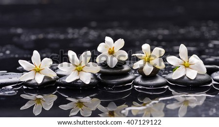 Still life with four gardenia with therapy stones - stock photo