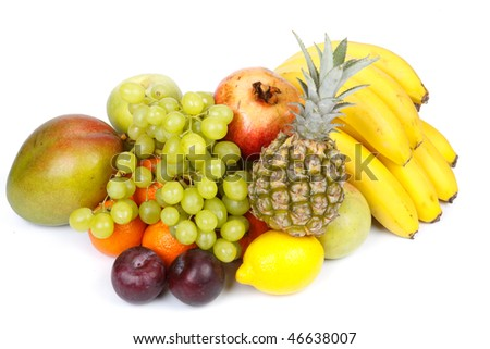 Still-life with fresh appetizing fruits. Close up.