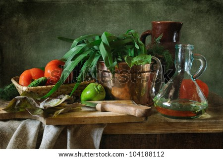 Still life with fresh vegetables - stock photo