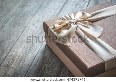 Still life with Gift box on wooden table