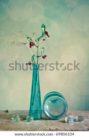 Still Life with glass vase and berries