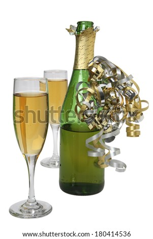 still life with glasses and champagne bottle  - stock photo