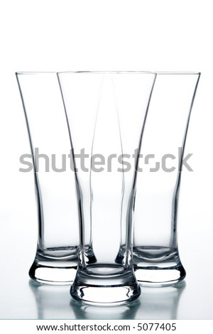 still life with glasses on the white background; - stock photo