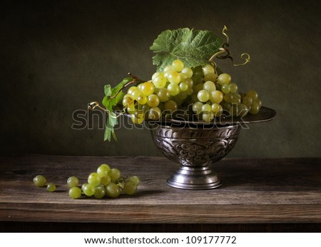 Still life with grapes - stock photo