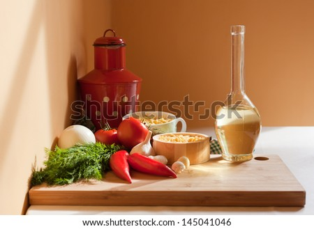 Still life with healthy food ingredients life in beautiful natural light.