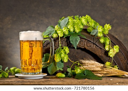Still life with Hops,  Beer and Barley.
