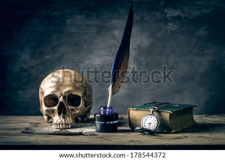 Still life with human skull vintage antique pocket watch and  grunge book - stock photo