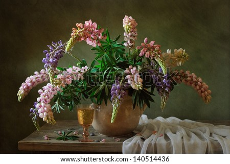 Still life with lupines - stock photo