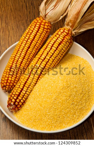 Still life with maize products - stock photo