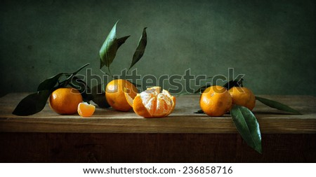 Still life with mandarins - stock photo