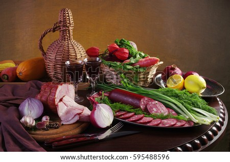 Bakery Products On Wooden Table Stock Photo 235830340 ...