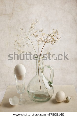 Still Life with Milk and Eggs - stock photo