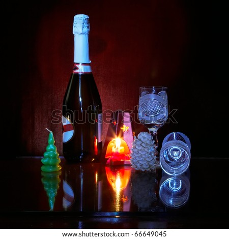 Still life with New Year's candles - stock photo