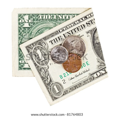 Still life with one old dollar and some coins, economy crisis concept photo