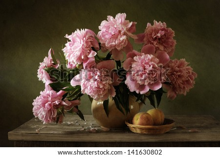 Still life with pink peonies - stock photo