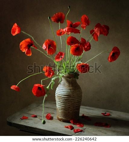 Still life with poppes - stock photo