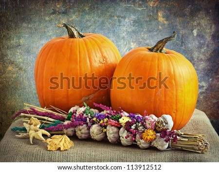 still life with pumpkins and a bunch of garlic.