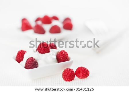 Still life with raspberry sour cream dessert on white linen table cloth, copy space design ready - stock photo