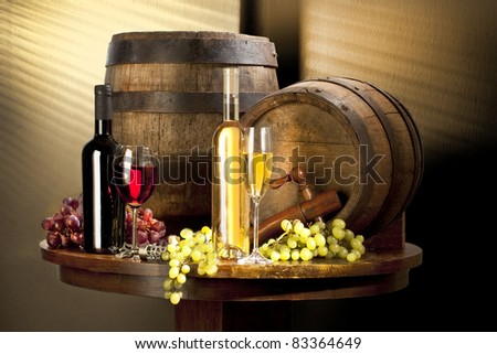 still life with red and white wine - stock photo