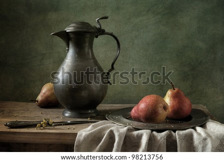 Still life with red pears - stock photo