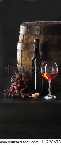 still life with red wine - stock photo
