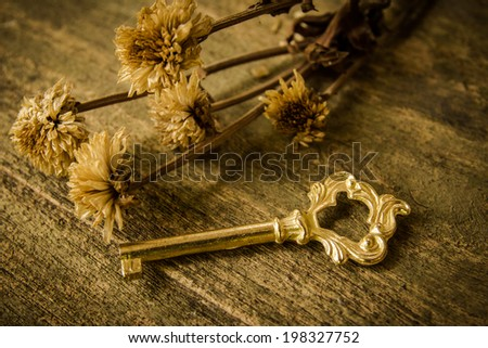 Still life with retro key and dry flower,gold key on wood