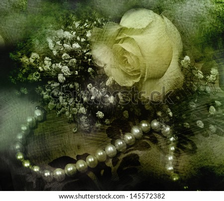 Still life with rose and pearls.  - stock photo
