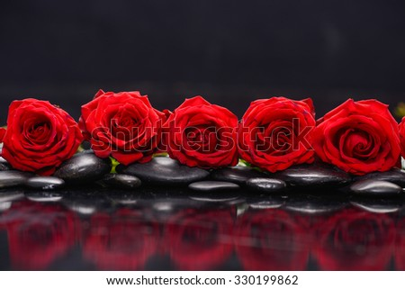 Still life with row of red rose and wet stones reflection - stock photo
