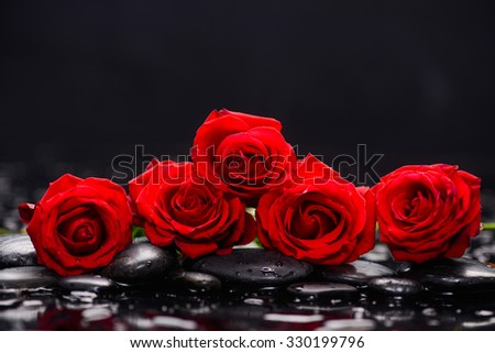 Still life with set of red rose and wet stones - stock photo