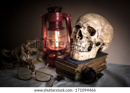 Still life with skull near old book with dry rose