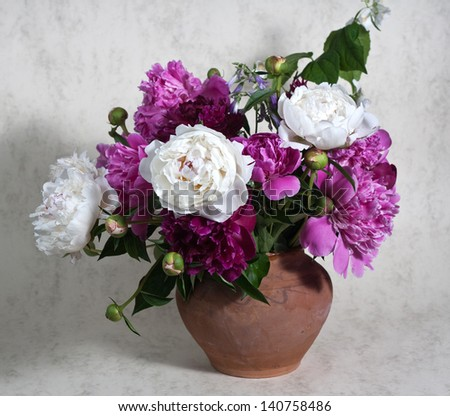 Still life with spring peonies - stock photo