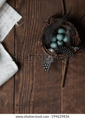Still life with Spring theme including a nest of birds eggs and burlap fabric on a piece of barn wood with copy space.   - stock photo