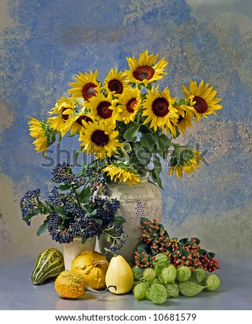 still-life with sunflowers - stock photo