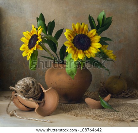 Still life with sunflowers and broken vase - stock photo