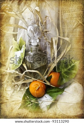Still life with tangerines. - stock photo