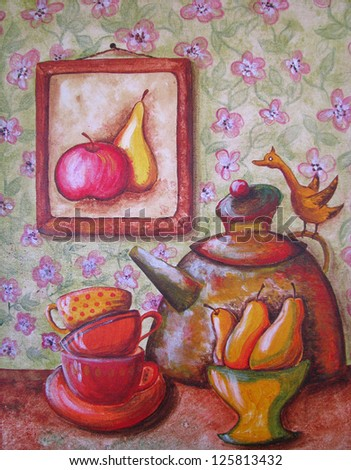 Still life with tea cups, pears, bird and teapot - stock photo