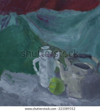 Still life with teapot, kettle and apple