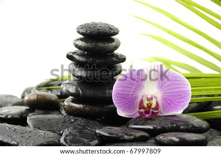 Still life with tower stone and pink orchid on pebble and green leaf - stock photo