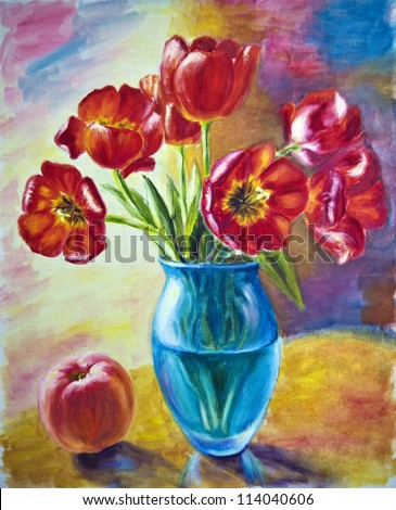 Still life with tulips and peach, oil painting on canvas - stock photo