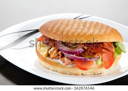 still life with turkish doner kebab and shawarma. close up  - stock photo