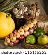 Still-life with vegetables in rural style - stock photo