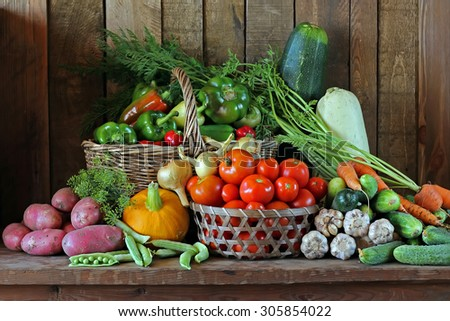 Still life with vegetables: tomato, carrots, pepper, potatoes, onions, vegetable marrow, garlic, cucumber, pumpkin, fennel, peas. Vegetables close up. - stock photo