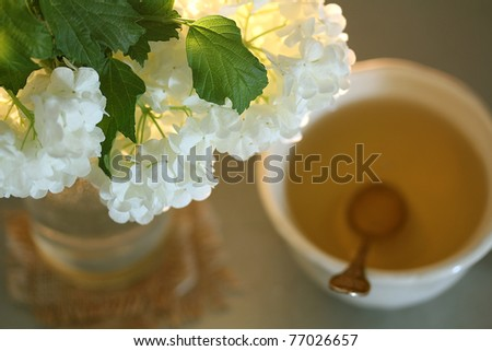 Still life with very nice spring flowers and green tea,very shallow dof - stock photo