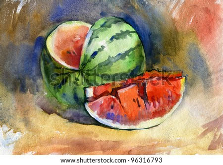 Still life with watermelon. Watercolor. - stock photo